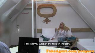 FakeAgent Blonde bar girl Creampie in casting