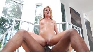 Blonde Sheena Shaw butt fucked by black cock