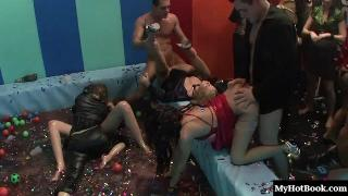 Hardcore sex is happening everywhere you look at this orgy where, in one