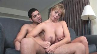 Huge cum blast for busty stepmom.