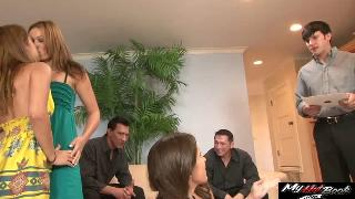 Crissy Moon, Gigi Rivera and Lizz Tayler playing bendover game to make their husband aroused